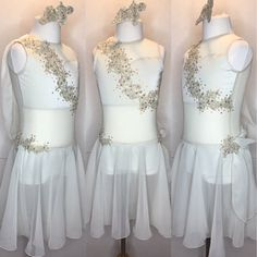 Delicate ivory custom dance costume. Tone on tone lyrical dress with a beautiful chiffon drape.  gLAM by Adora - Costumes