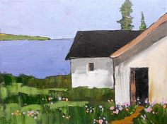 "Daily+Paintworks+-+""Ocean+Cottage+Farm+Barns""+-+Original+Fine+Art+for+Sale+-+©+lynne+french"