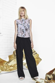 FRIEND CRUSH SLEEVELESS CHIFFON SHIRT IN BLUE FLORAL SPLASH AND THE WITCH CREPE TROUSERS IN ANTHRACITE BLACK http://fallwinterspringsummer.com