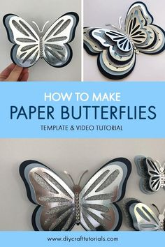 How to make Paper Butterflies - Template and Video Tutorial - Butterfly Template, Butterfly Crafts, Flower Crafts, Crown Template, Butterfly Mobile, Heart Template, Flower Template, Paper Flower Patterns, Paper Flowers Craft
