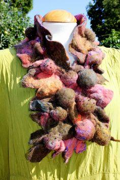 Green orange purple shibori felted wool collar by Angelab5705