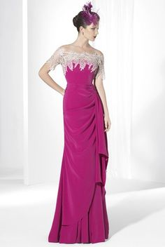 $131.09-Vintage Sheath  Off-The-Shoulder Side-Draped Maxi Jersey Pink Long Mother of the Groom Dress with Short-Sleeves. http://www.ucenterdress.com/sheath-short-sleeve-off-the-shoulder-side-draped-maxi-jersey-prom-dress-with-appliques-pMK_300123.html.  Tailor Made mother of the groom dress/ mother of the brides dress at #UcenterDress. We offer a amazing collection of 800+ Mother of the Groom dresses so you can look your best on your daughter's or son's special day. Low Prices, Free…