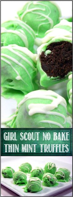 "Girl Scout NO BAKE Thin Mint Truffles - EASY PEASY! Indeed... All the flavors of the hit classic Girl Scout Thin Mint Cookie ""rolled"" into a truffle with white chocolate flavor and fudgy minty goodness in the center... and did I say an EASY DIY Project for you and the kids!"