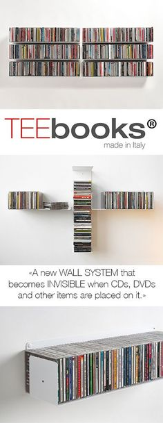 You can create your own TEEbooks CD shelving system as you like for storing your CDs horizontally and/or vertically using TEEbooks CD shelves; this is the advantage of aTEEbooks CD shelving system. Ikea Dvd Storage, Dvd Storage Tower, Dvd Storage Cabinet, Dvd Shelves, Media Storage, Record Storage, Cd Shelving, Storage Units, Storage Rack
