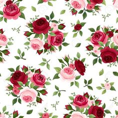 Illustration about Vintage seamless pattern with red and pink English roses, rose buds and leaves. Illustration of backdrop, foliage, flower - 36882409 Decoupage Vintage, Decoupage Paper, Vintage Diy, Flower Wallpaper, Pattern Wallpaper, Red And Pink Roses, Rosa Rose, Illustration, Flower Backgrounds