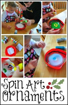 Spin-Art Ornaments: A simple painting DIY project for kids!