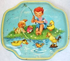 Adorable Vintage Horner Turquoise Collectible Tin Container with Boy Fishing, Ducks and a Puppy 1950's Home Decor Childrens Room