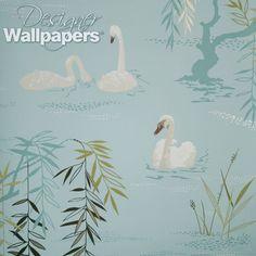 swan lake Swan Wallpaper, Scenic Wallpaper, Luxury Wallpaper, Designer Wallpaper, Seaside Wallpaper, Bathroom Wallpaper, Nina Campbell Wallpaper, Lily Bloom, Drops Patterns