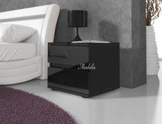 Nachtkastjes nachtkastje Daiya hout zwart 2 lades