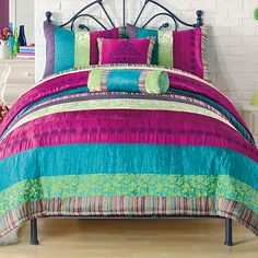 Ok, perfect Christmas for 10 year old daughter!!! Magenta, Turquoise and Lime Green! The Kamille Comforter Set - Getting it at BedBathandBeyond.com