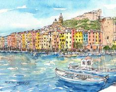 Impresión de un acuarela original de arte de Italia en