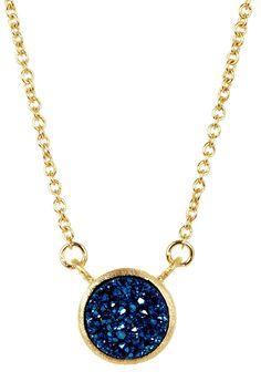 18K Gold Clad Electric Blue Druzy Station Necklace