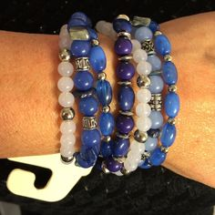Multiple colors of blue beads with silver closure Multiple colors of blue beads with silver closure fits a 7 or 7 1/2 inches wrist Sonoma Jewelry Bracelets