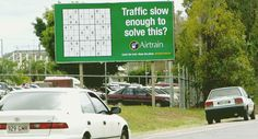 "Advertising to present alternative options.    ""Traffic slow enough to solve this?  Catch the train. Make the plane.""  Company: AirTrain: Sudoku  Agency: De Pasquale, Brisbane, Australia"