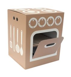Little Cook Oven by Flatout Frankie -create the look inspiration This look like great fun. I'm all for a bit of imaginative play. Cardboard Kitchen, Cardboard Play, Cardboard Crafts, Fun Crafts, Crafts For Kids, Diy Karton, Licht Box, Cardboard Furniture, Idee Diy