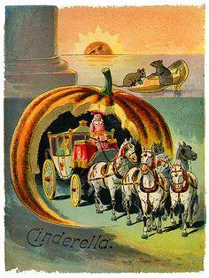 Cinderella Antique Book Cover--Pumpkin Coach
