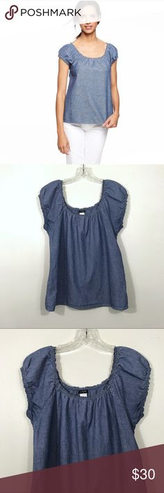 "J. Crew Chambray Top Brand: J. Crew Description: Chambray cap sleeve top Color: Blue Material: 100% cotton Size: Medium Chest Measurement: 18.5"" across laying flat Length: 24.5"" from shoulder to hem Condition: Excellent J. Crew Tops Blouses"