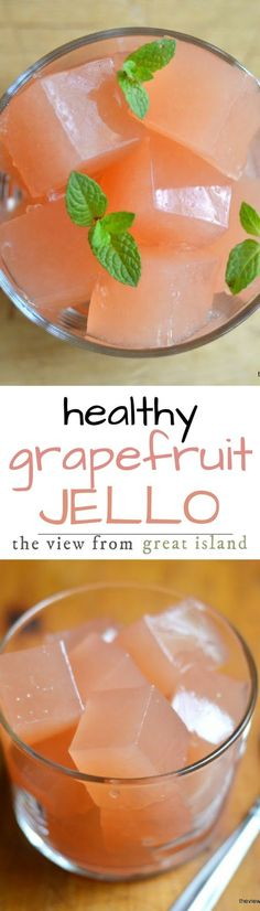 Homemade Fresh Grapefruit or Pomegranate 'Jello' Homemade Fresh Grapefruit or Pomegranate 'Jello' ~ these very low sugar healthy fresh fruit 'jello' recipes are fun for kids of all ages! Gluten Free Recipes For Kids, Good Healthy Recipes, Healthy Desserts, Fun Desserts, Dessert Recipes, Gelatin Recipes, Jello Recipes, Vegan Gelatin, Jello Gelatin