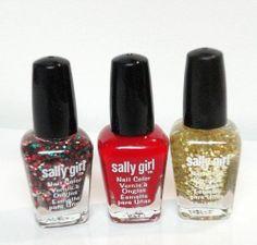SALLY Mini 2013 Christmas Collection Nail Polish LOT Red Glitter GOLD & GREEN