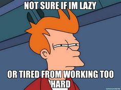 NOT SURE IF IM LAZY OR TIRED FROM WORKING TOO HARD - Futurama Fry | Your Favourite MEME Generator & Gallery In One!