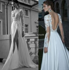 Discount A-line Deep V-Neck Side Slit Sexy Backless Wedding Dress Sheer Sleeve Applique Chiffon Berta Bridal Winter Long Sleeve Wedding Dresses Gowns Online with $142.0/Piece | DHgate