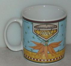 Sakura Blue Ribbon Mug Carrots Vegetables Country Debbie Mumm Coffee Cup  - This Item is for sale at LB General Store http://stores.ebay.com/LB-General-Store ~Free Domestic Shipping ~