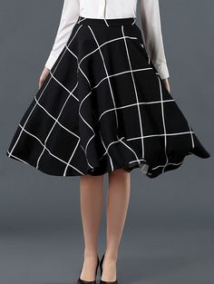 Plaid Flare Black Skirt 18.00