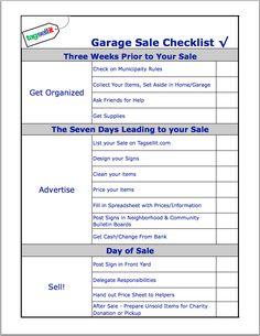 FREE Printable Garage Sale Checklist #yardsale #garagesales