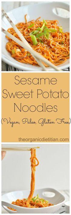 Sesame Sweet Potato Noodles using Spirilizer #vegan #glutenfree #paleo