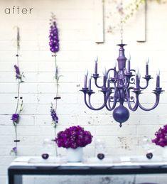 Once a brass Chandelier turned Purple!