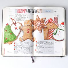 Gingerbread Recipe Illustration - Recipe journal 2014 on Behance Sketchbook Inspiration, Art Sketchbook, Journal Inspiration, Sketch Journal, Journal Pages, Illustration Arte, Food Journal, Recipe Journal, Food Sketch