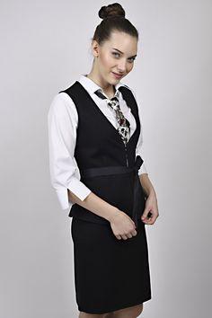 business look, black waiscoat, waiscoat, white shirt, black tie, management, reception, uniform, uniforms Business Look, Black Tie, Reception, Management, Vest, Jackets, Shirts, Dresses, Design