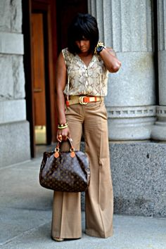 "Belts, Orange Michael Kors Belts, Tan Wide Leg Bcbgmaxazria Pants | ""Neutral Tones..."" by Jeeda - Chictopia"