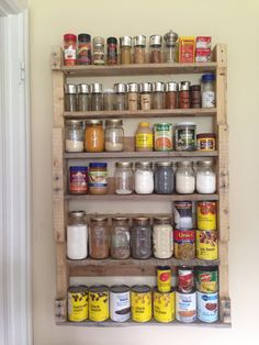 Spice rack/food storage made with one pallet, easy and free! Pallet Spice Rack, Pallet Shelves, Distressed Wood, Wood Ideas, How To Distress Wood, Barn Wood, Food Storage, Pallets, Liquor Cabinet