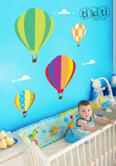 Hot Air Balloons Wall Decal by TikitiWallDecals on Etsy, $69.00. Above the toy bench, with F's name in the centre.