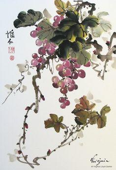 Chinese brush paintings of bamboo, grapes, lotus and birds by Virginia Lloyd-Davies of Fairfield, VA