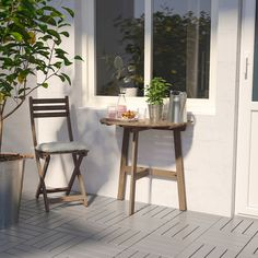 IKEA - ASKHOLMEN, Wall table & folding chair, outdoor, gray-brown stained, Takes little room to store as both the table and the chair fold flat. Wall Table Folding, Outdoor Folding Chairs, Outdoor Dining, Outdoor Furniture Sets, Rustic Furniture, Antique Furniture, Modern Furniture, Simple Furniture, Inexpensive Furniture
