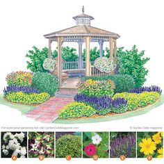 A lovely garden plan to add interest around a seating area Colorful getaway | Garden Gate eNotes