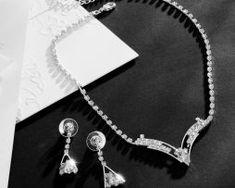 Elegantný šperkový set s kryštálikmi - náušnice + náhrdelník Pearl Necklace, Pearls, Diamond, Jewelry, String Of Pearls, Jewlery, Jewerly, Beads, Schmuck