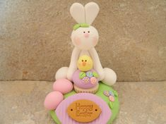 Happy Easter Scene by countrycupboardclay on Etsy