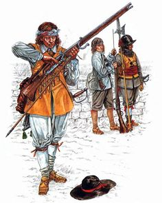 """The English Civil War 1642-1651: • Musketeer, Royalist northern foot • Musketeer, Royalist northern foot • Sergeant, Royalist northern foot"", Jeffrey Burn"