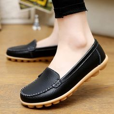 Low Price $10.99, Buy Genuine leather shoes woman 2017 new solid slip on boat shoes for women flats shoes big size 35-44 loafers chaussure femme