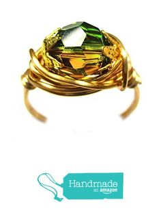 Genuine Swarovski Brandy Green Faceted Crystal Wire Wrap Ring from Designer Wire Jewelry http://www.amazon.com/dp/B015TKRFZI/ref=hnd_sw_r_pi_dp_aQS8wb1FDFBCV #handmadeatamazon