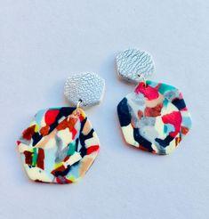 Colourful Geometric Earrings. Funky Retro earrings. Hexagon. earrings. 80s earrings. Funky. Quirky. Nu wave earrings. Polymer Clay Geometric Earrings,