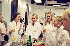 Oversized monogram button-downs for the bridesmaids while getting ready....