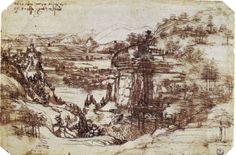 Study of a Tuscan Landscape by Leonardo da Vinci, 1473