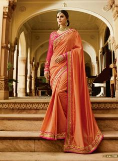 Buy Hypnotic Peach Colored Partywear Designer Embroidered Silk Saree at Rs. Get latest Festive wear saree ✓Genuine Products ✓ Easy Returns ✓ Best Pricing Peach Color Saree, Peach Saree, Orange Saree, Pink Saree, Indian Designer Sarees, Designer Sarees Online, Trendy Sarees, Art Silk Sarees, Party Wear Sarees