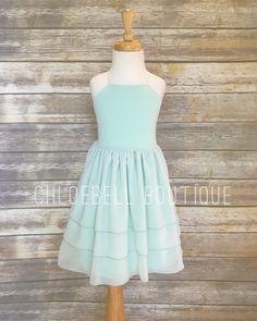 f6933a6f8b8 Mint Chiffon Flower Girl Dress - Tiered Toddler Flower Girl Dress - Mint  -Chiffon Flower Girl - Chiffon Girls Dress - Modern