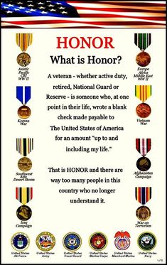 Honor & Respect  - if it was not for us veterans you would not have the freedom's that you do.