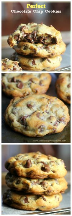 Perfect Chocolate Chip Cookies I love finding new cookie recipes! This one for the Perfect Chocolate Chip Cookies is the best! Cookie Desserts, Just Desserts, Delicious Desserts, Dessert Recipes, Yummy Food, Mini Desserts, Baking Desserts, Dinner Recipes, Cooking Cookies